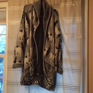 Anthropologie open front sweater, llama print, NWT